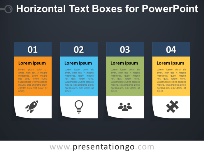 Free Horizontal Text Boxes for PowerPoint - Dark Background