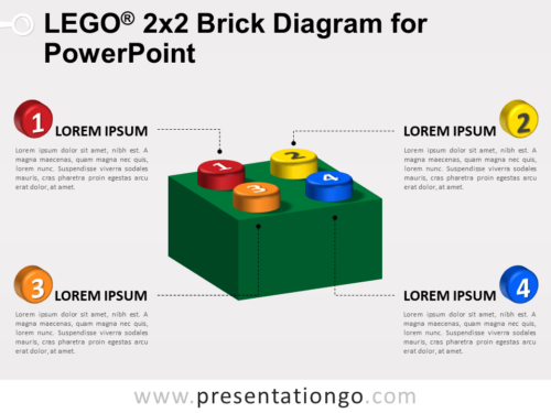 Free Lego 2x2 Brick Diagram for PowerPoint (Colors)