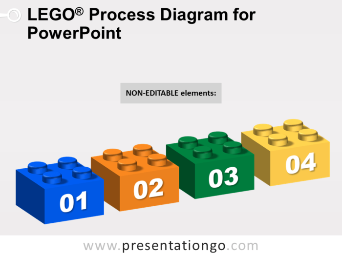 Lego Process Diagram for PowerPoint - Dark Background - Not Editable Elements