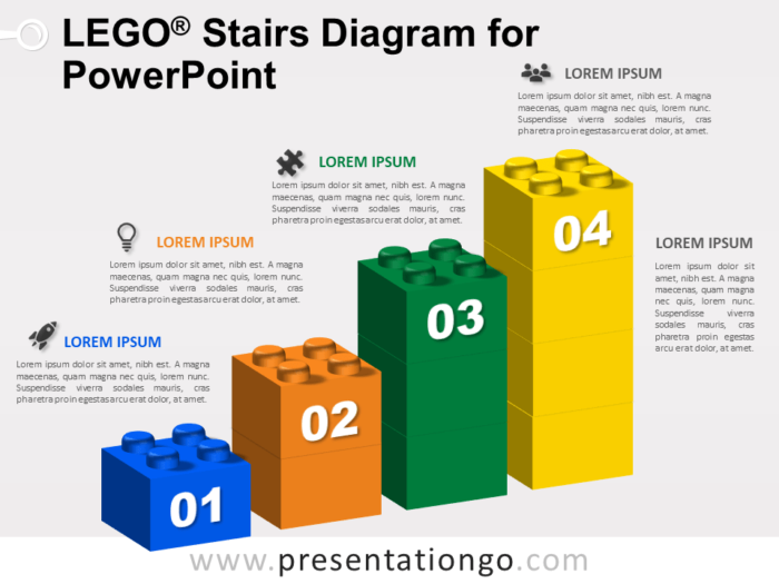 Free Lego Stairs Diagram for PowerPoint