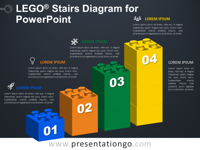 Free Lego Stairs Diagram for PowerPoint - Dark Background