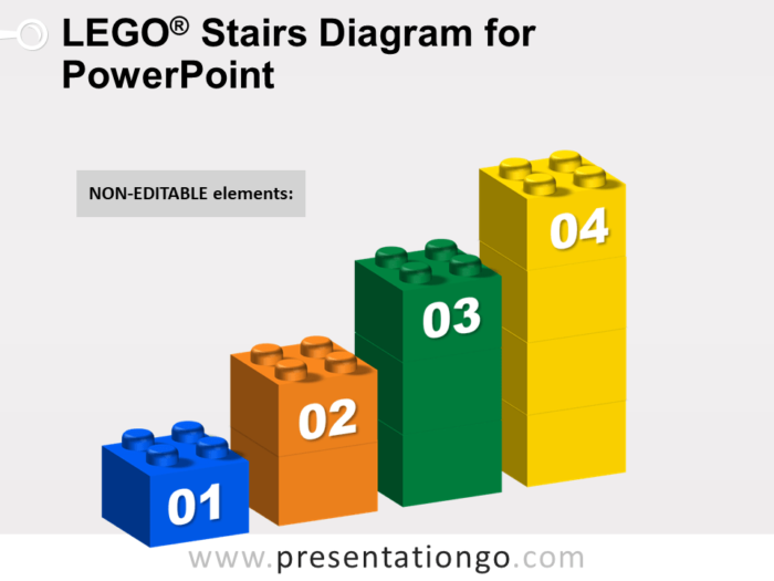 Lego Stairs Diagram for PowerPoint - Dark Background - Not Editable Elements