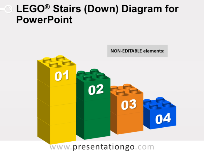 Lego Stairs Down Diagram for PowerPoint - Not Editable Elements