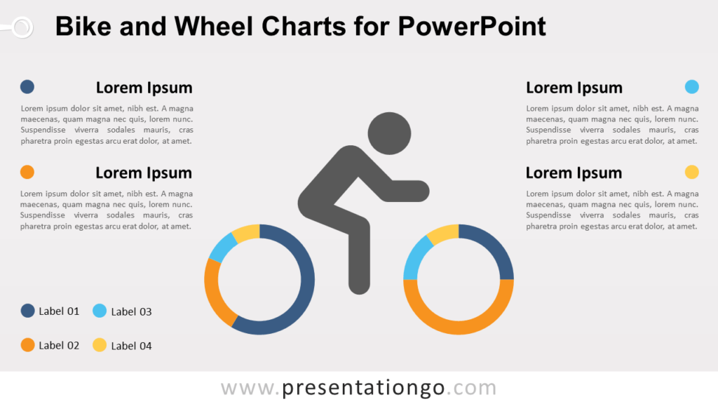 Free Bike and Wheel with Doughnut Charts for PowerPoint