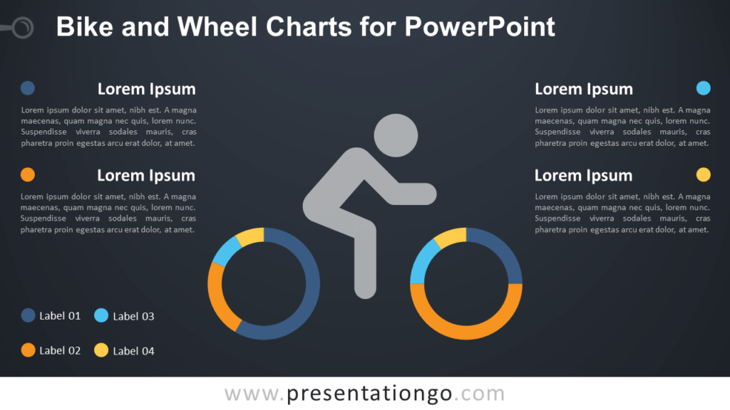 Free Bike and Wheel with Doughnut Charts for PowerPoint - Dark Background