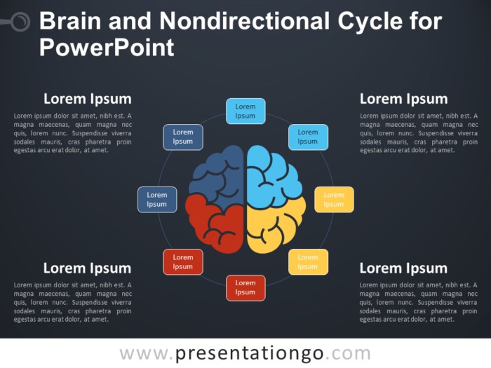 Free Brain and Nondirectional Cycle for PowerPoint - Dark Background