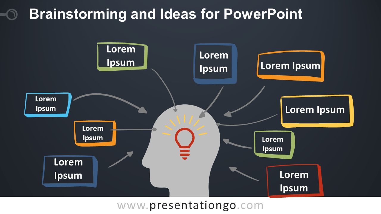Brainstorming and Ideas Metaphor for PowerPoint - Dark Background