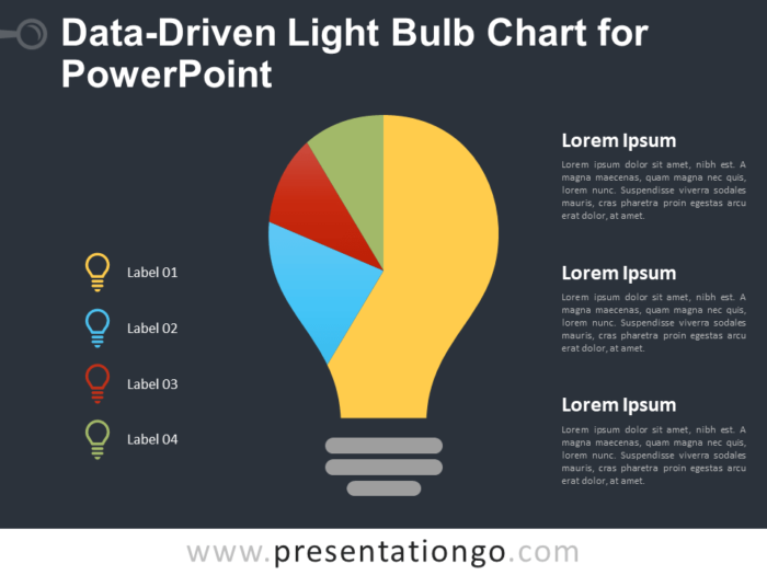 Free Data-Driven Light Bulb Chart for PowerPoint - Dark Background