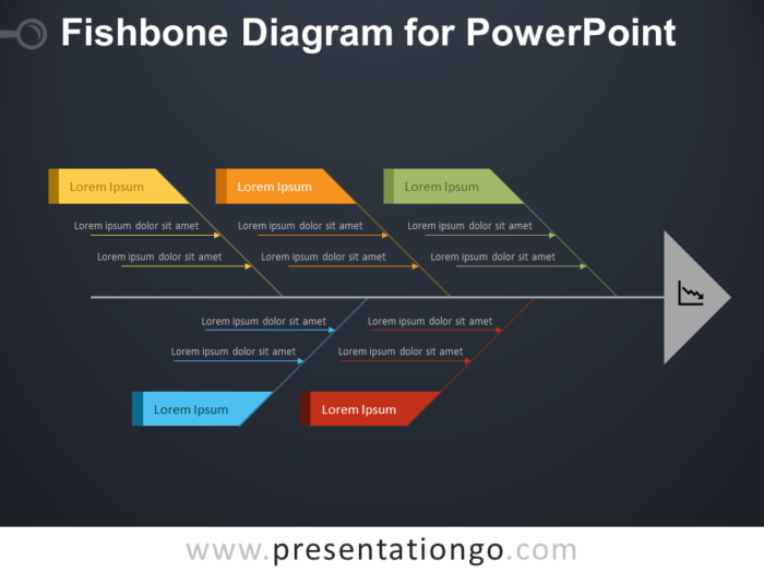 Free Fishbone Diagram for PowerPoint - Dark Background