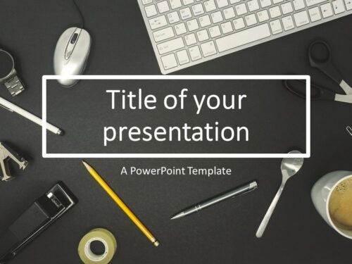 Free Flat Lay PowerPoint Template with iMac Keyboard
