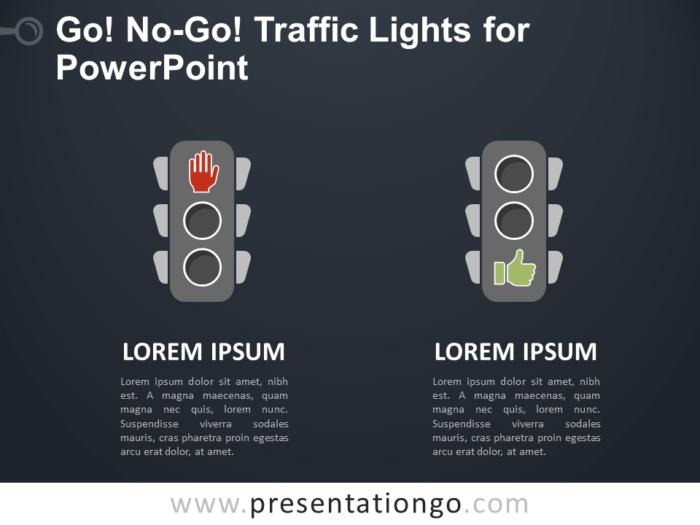Free Go, No-Go Traffic Lights for PowerPoint - Dark Background