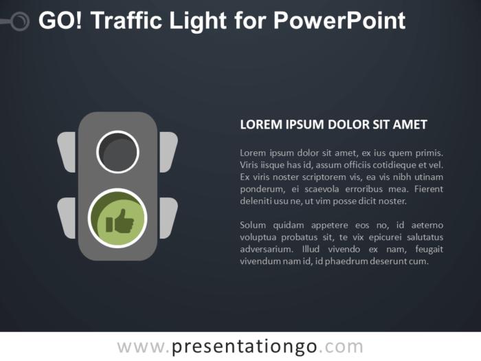 Free Go Traffic Light for PowerPoint - Dark Background