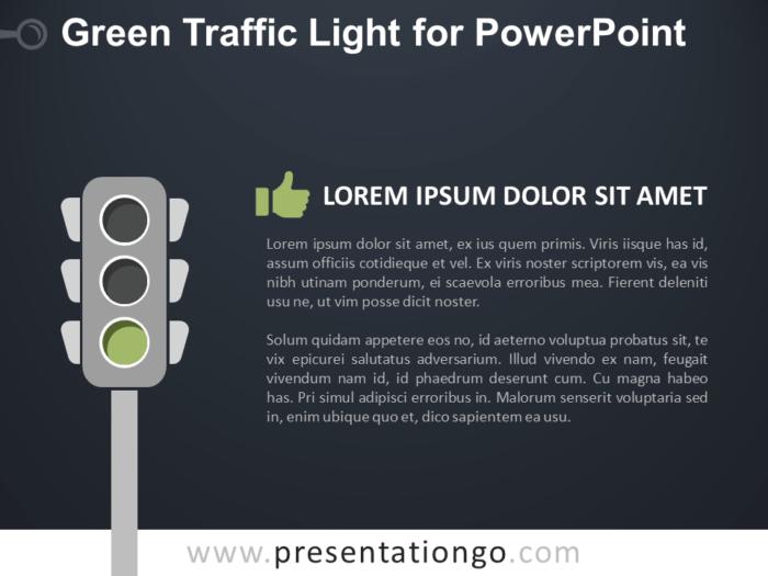Free Green Signal Traffic Light for PowerPoint - Dark Background