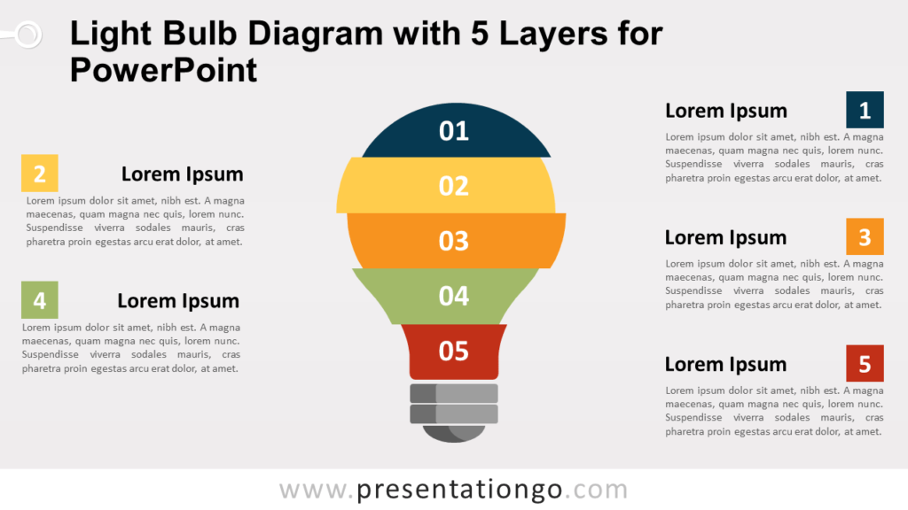 Free Light Bulb with 5 Layers for PowerPoint