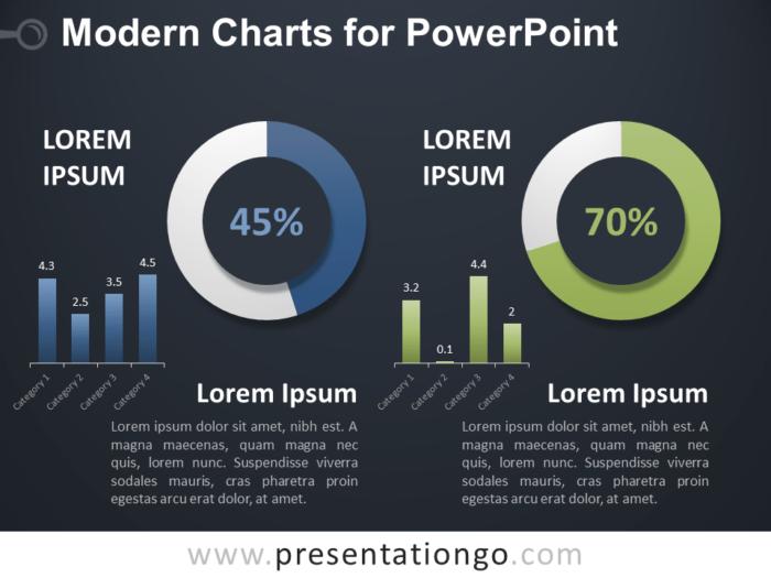 Free Modern Charts for PowerPoint - Dark Background