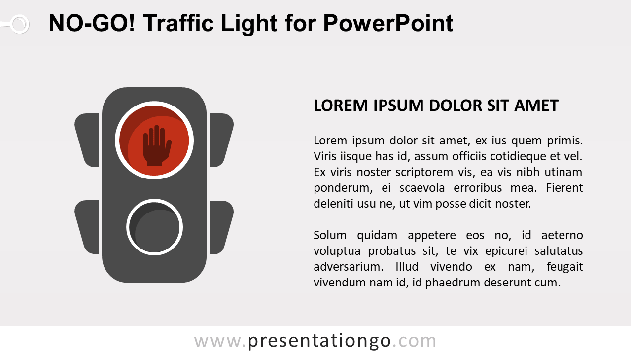 Free No-Go Red Traffic Light for PowerPoint