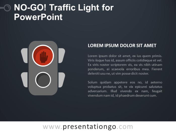 Free No-Go Traffic Light for PowerPoint - Dark Background