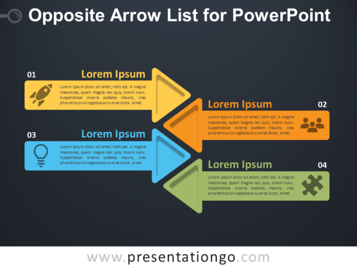 Free Opposite Arrow List for PowerPoint - Dark Background
