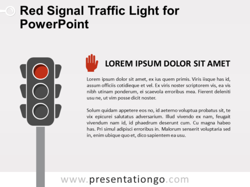 Free Red Signal Traffic Light for PowerPoint