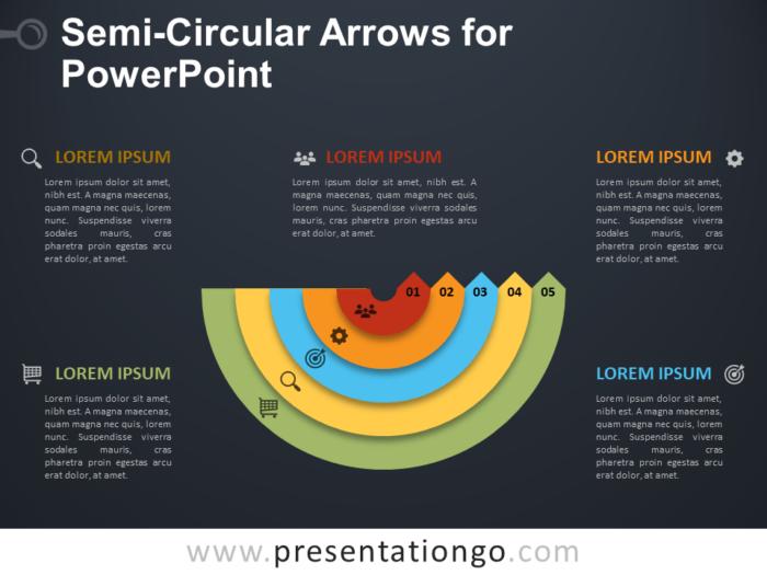 Free Semi-Circular Arrows for PowerPoint - Dark Background