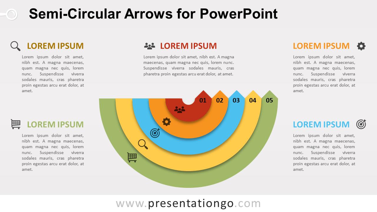 Free Semi-Circular Arrows PowerPoint Diagram