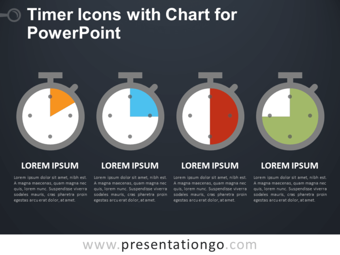 Free Timer Icons and Chart for PowerPoint - Dark Background