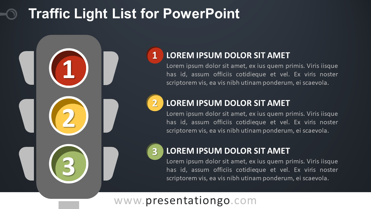 Free Traffic Light List with Numbers for PowerPoint - Dark Background