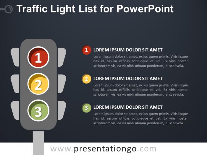 Free Traffic Light List for PowerPoint - Dark Background