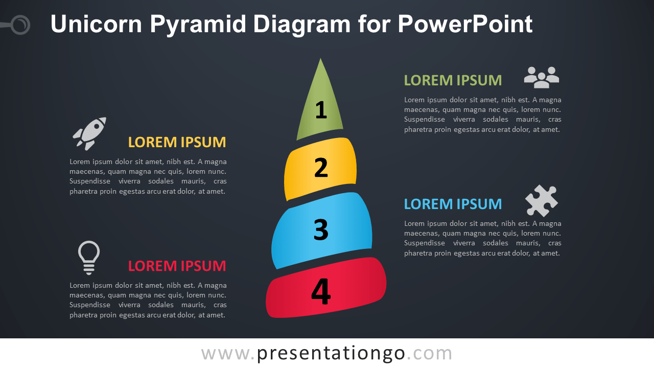 Free Unicorn Horn for PowerPoint - Dark Background