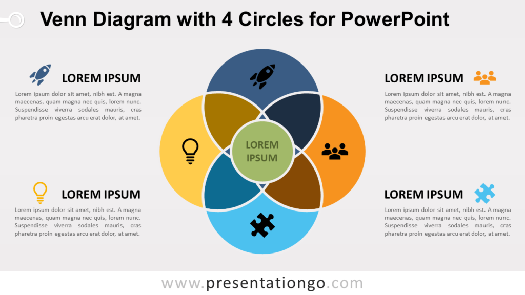 Venn Diagram for PowerPoint with 4 Circles