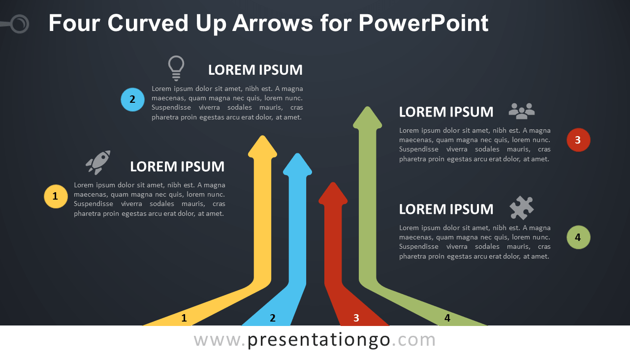 Free Curved Up Arrows for PowerPoint - Dark Background