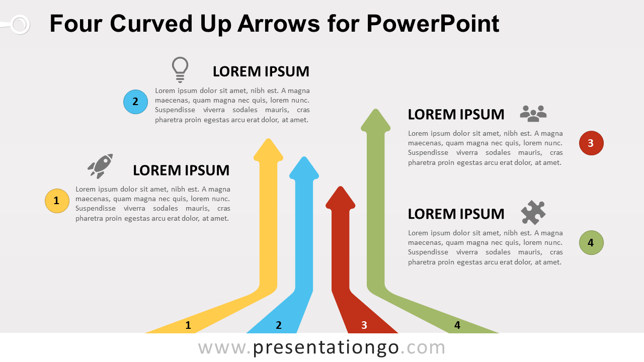 Free Curved Up Arrows for PowerPoint