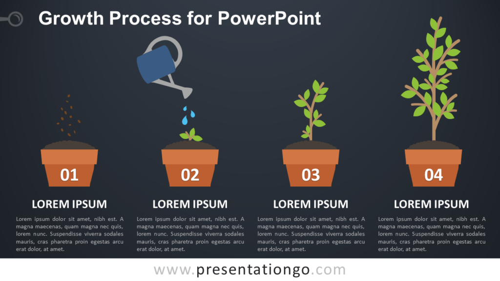 Free Growth Process Metaphor for PowerPoint - Dark Background