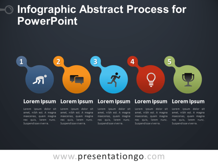 Free Infographic Abstract Process for PowerPoint - Dark Background