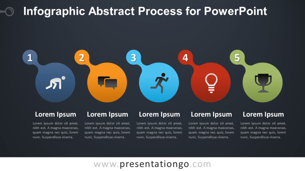 Free Infographic Process for PowerPoint - Dark Background