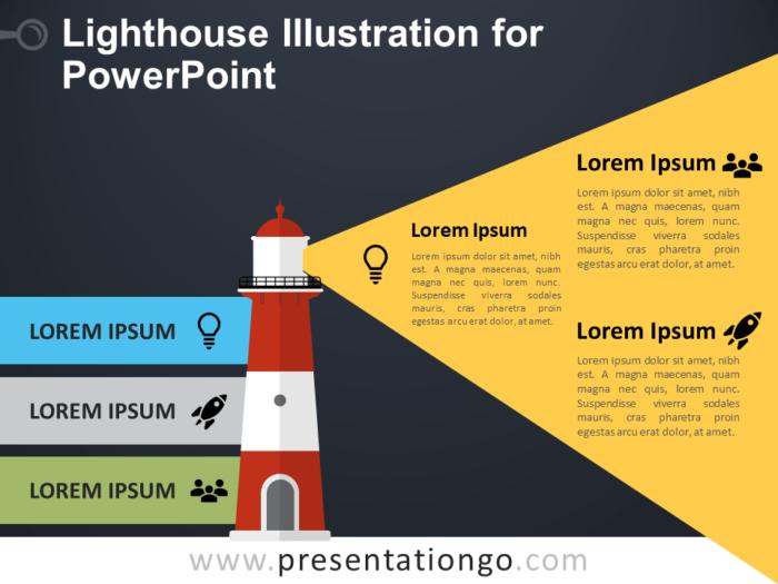Free Lighthouse Illustration for PowerPoint - Dark Background