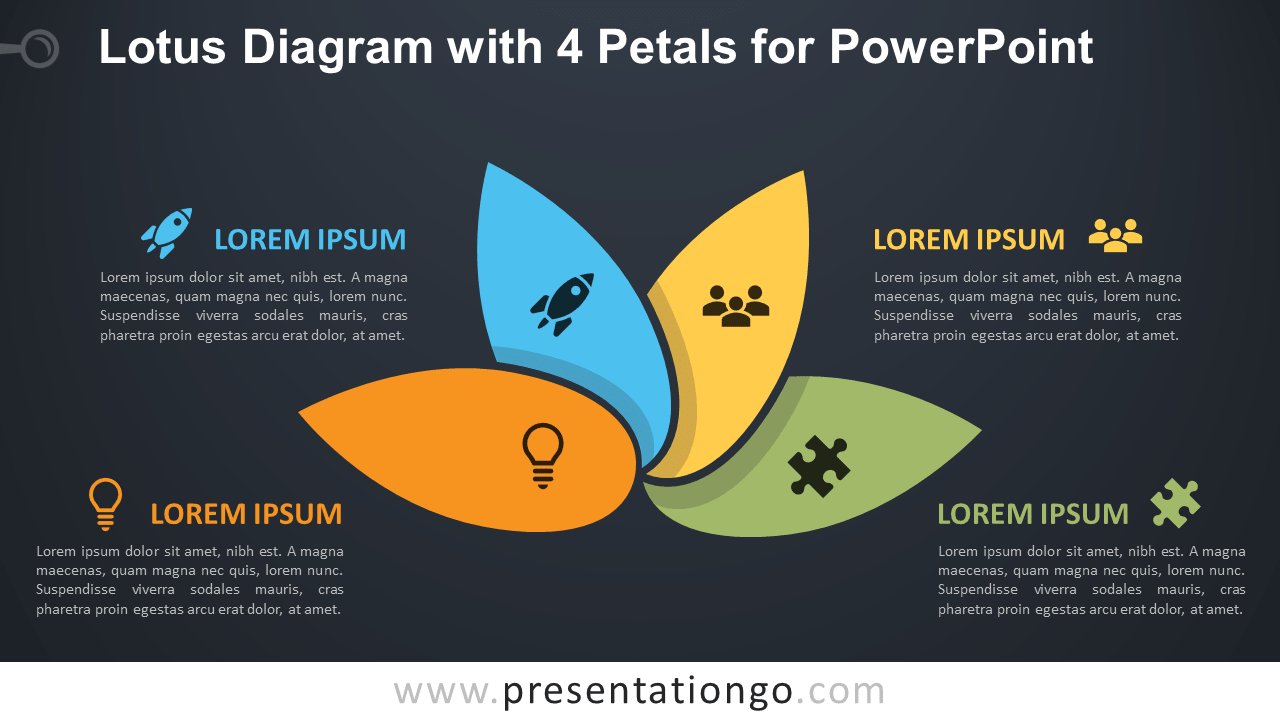 Free Lotus with 4 Petals for PowerPoint - Dark Background