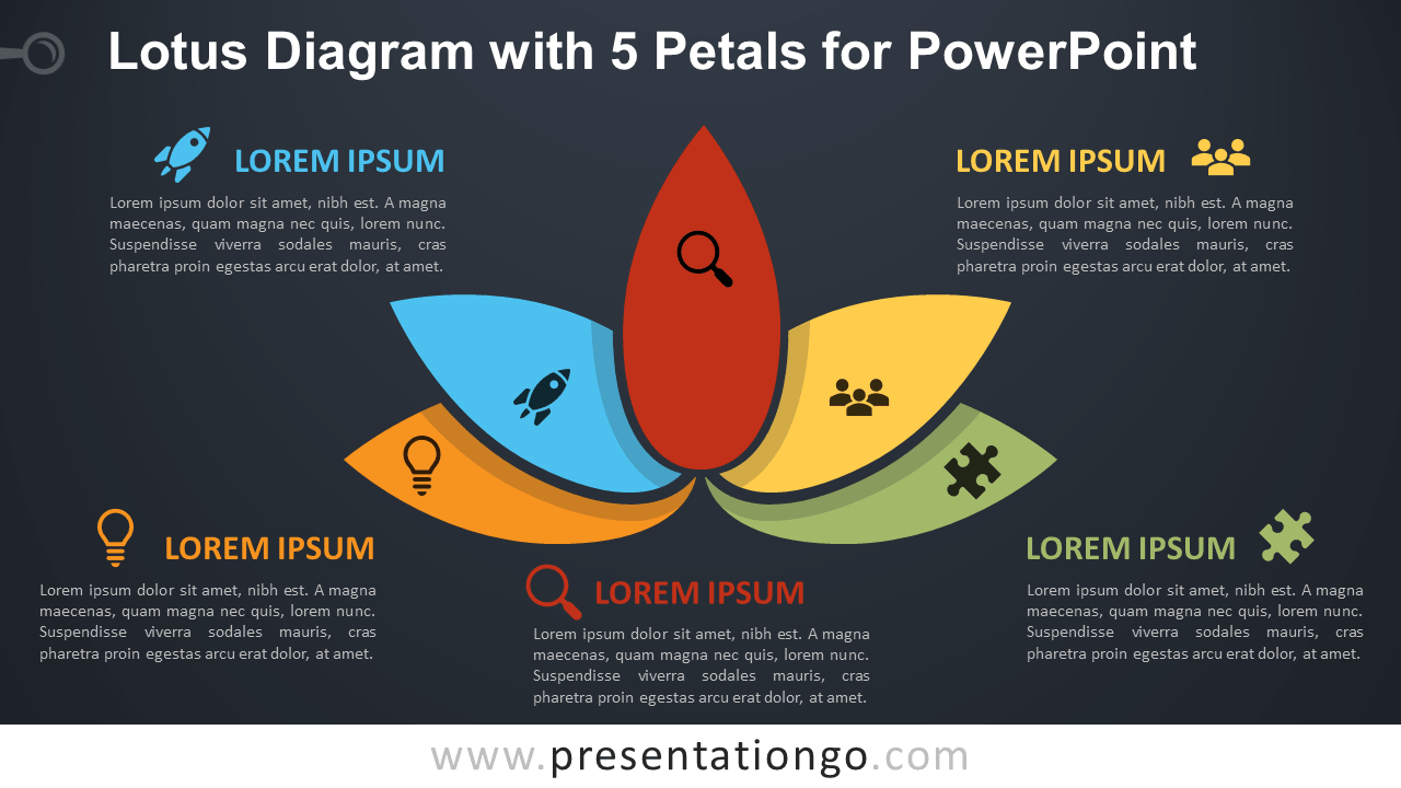 Free Lotus with 5 Petals for PowerPoint - Dark Background
