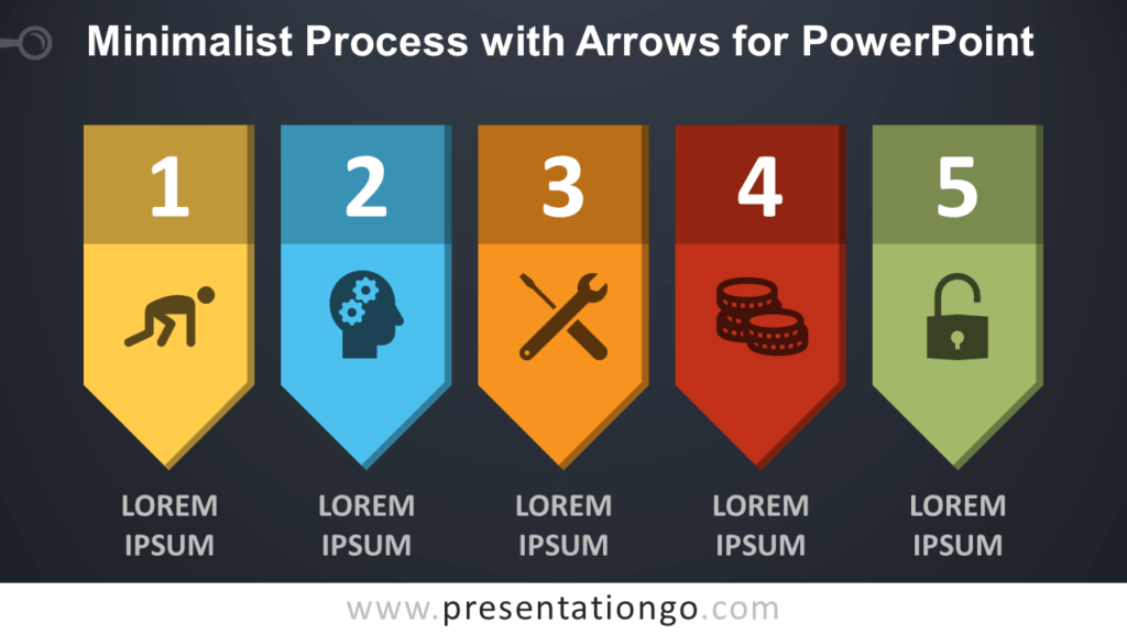 Free Minimalist Process Diagram with Arrows for PowerPoint - Dark Background