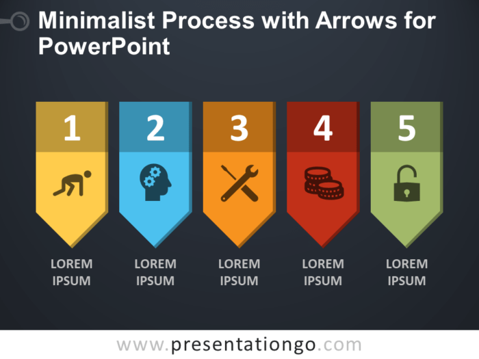 Free Minimalist Process with Arrows for PowerPoint - Dark Background