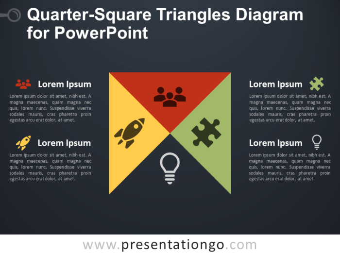 Free Quarter-Square Triangles Diagram for PowerPoint - Dark Background