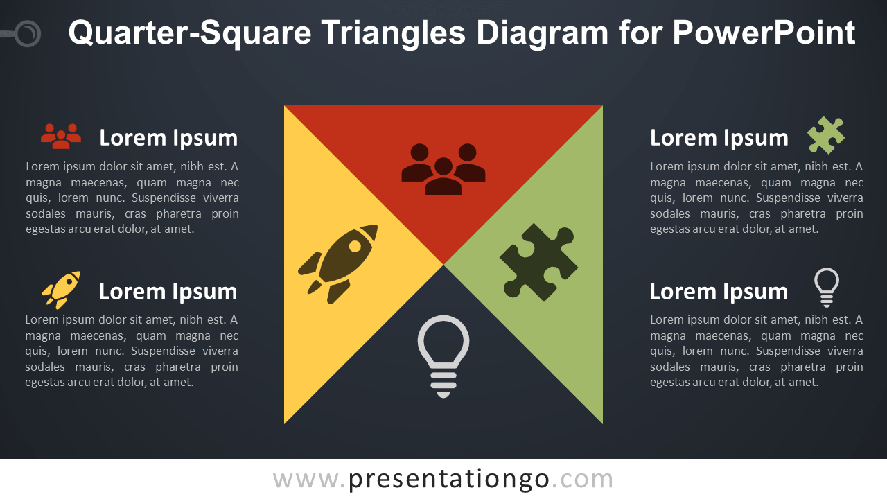 Free Quarter-Square Triangles for PowerPoint - Dark Background