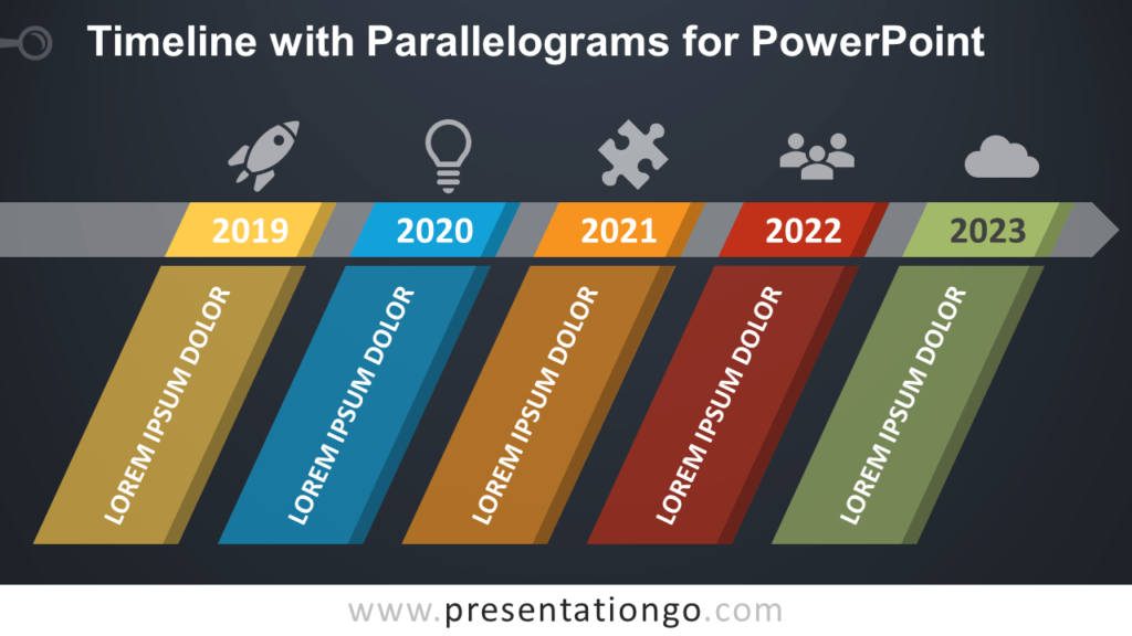 Free Timeline Diagram with Parallelograms for PowerPoint - Dark Background