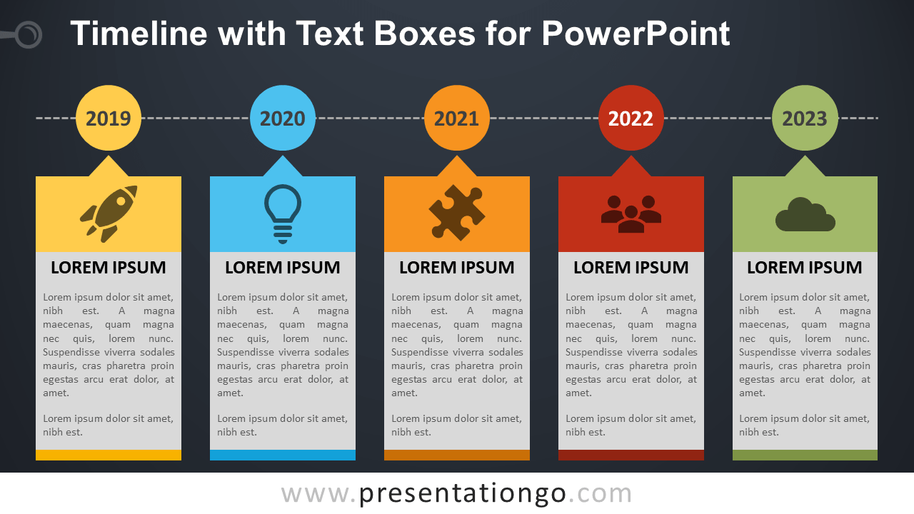Free Timeline Diagram with Text Boxes for PowerPoint - Dark Background