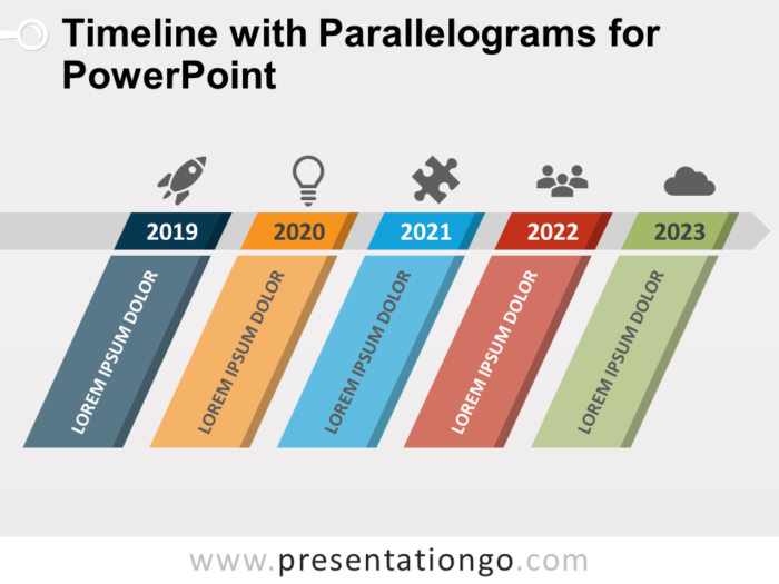 Free Timeline with Parallelograms for PowerPoint