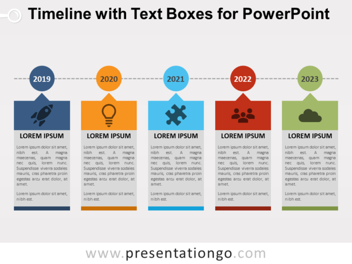 Free Timeline with Text Boxes for PowerPoint