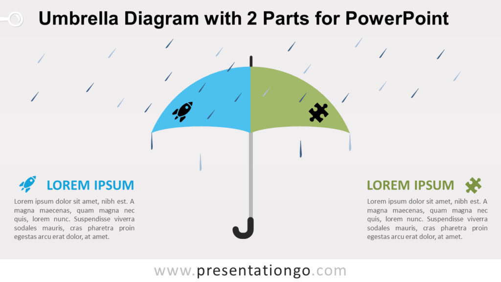 Free Umbrella with 2 Parts for PowerPoint
