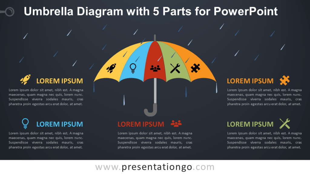 Free Umbrella with 5 Parts for PowerPoint - Dark Background