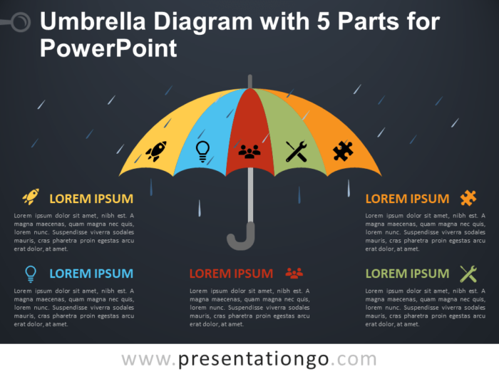 Free Umbrella Diagram with 5 Parts for PowerPoint - Dark Background