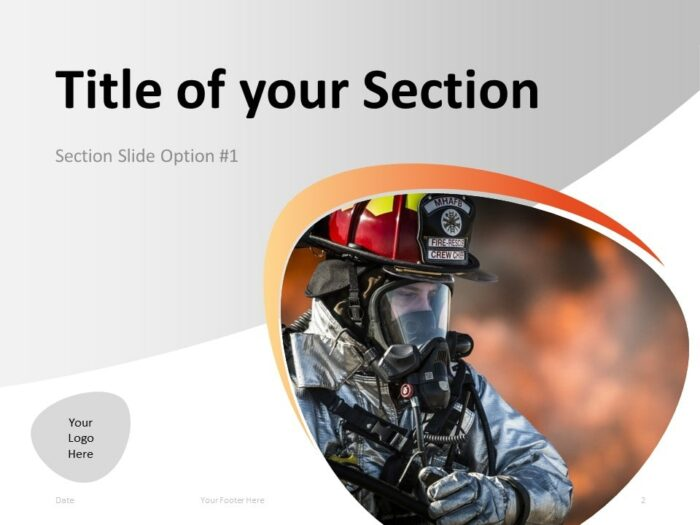 Free Firefighter PowerPoint Template - Section Slide 1